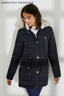 Dorothy Perkins Faux Fur Hood Parka Jacket