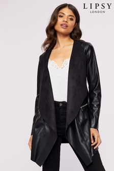 Lipsy Faux Leather Long Waterfall Jacket