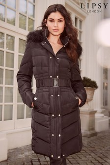 Lipsy Faux Fur Hood Longline Padded Coat