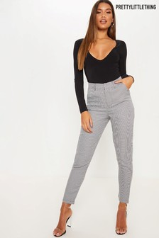 PrettyLittleThing Monochrome Check Slim Leg Trousers