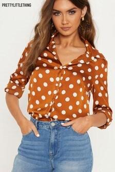 PrettyLittleThing Polka Dot Button Through Shirt