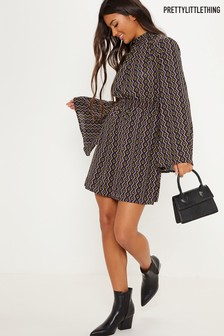 PrettyLittleThing Geo Print Skater Dress