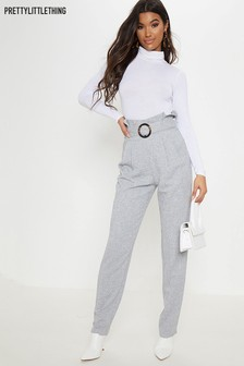 PrettyLittleThing Paper Bag Belted Trousers