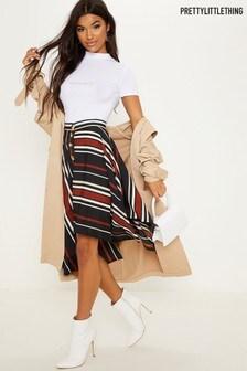 PrettyLittleThing Asymmetric Mix Stripe Midi Skirt