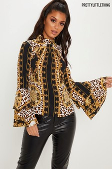 PrettyLittleThing Scarf Print High Neck Blouse
