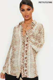 PrettyLittleThing Snake Print Button Through Shirt Co-ord
