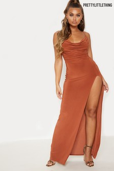 PrettyLittleThing Slinky Cowl Neck Maxi Dress