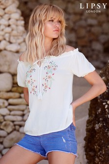 Lipsy Embroidered Bardot Top