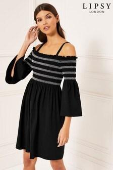 שמלה עם כתף חשופה בצבעים מונוכרומטיים מנוגדים של Lipsy
