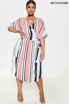 PrettyLittleThing Multi Stripe Wrap Midi Dress