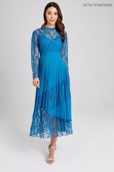 Little Mistress Lace Insert Pleated Skirt Midi Dress