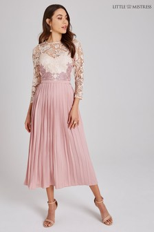 Little Mistress Crochet Lace Pleated Skirt Midi Dress