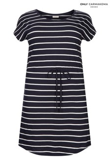 Only Carmakoma Stripe Jersey Drawstring Waist Dress