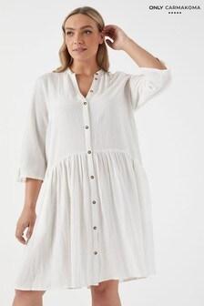 Only Carmakoma Curve Linen Mix Button Through Shirt Dress