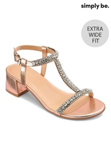 Simply Be Extra Wide Fit Diamanté Low Block Heel