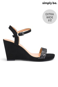 Simply Be Extra Wide Fit Diamanté Buckle Wedge