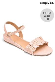 Simply Be Extra Wide Fit Low Wedge Ruffle Sandals