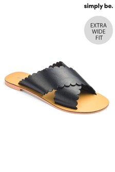 Simply Be Leather Cross Scallop Strap Extra Wide Fit Sliders
