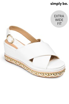 Simply Be Cross Strap Extra Wide Fit Flatform Sandals