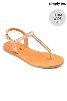 Simply Be Embellished Toepost Extra Wide Fit Sandals