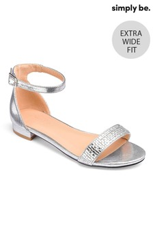 Simply Be Low Heel Ankle Strap Extra Wide Fit Sandals