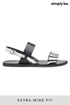 Simply Be Extra Wide Fit 2 Strap Flat Sandals