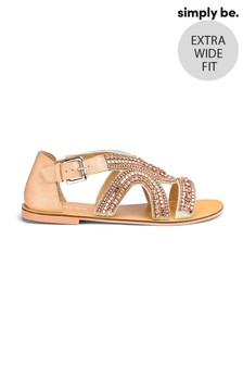 Simply Be Extra Wide Fit Sydney Jewel Strapped Extra Wide Fit  Sandals