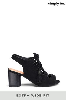 Simply Be Evelyn Block Heel Lace Up Extra Wide Fit Shoe Boots