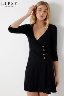 Lipsy Horn Button Wrap Dress