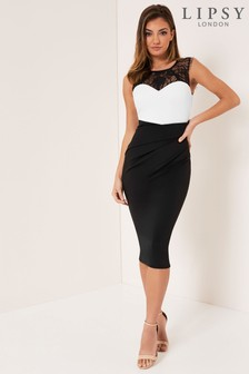 Lipsy Monochrome Lace Bodycon Dress