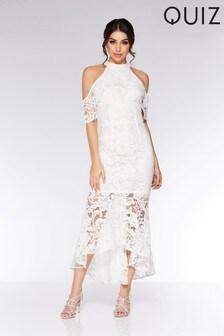 Quiz Crochet High Neck Dip Hem Maxi Dress