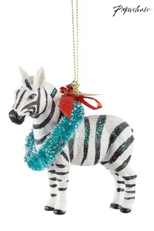 Paperchase Zebra With Wreath Christmas Decoration