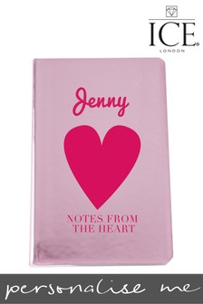 Personalised Notes From The Heart Pink Metallic Notebook By ICE London