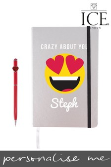Personalised Heart Eye Emoji Notebook With Heart Pen By ICE London