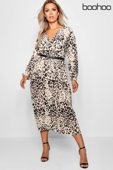 7ceb9f8bf6588b Boohoo Plus Leopard Print Wrap Front Midi Dress