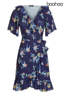 Boohoo Plus Floral Wrap Dress