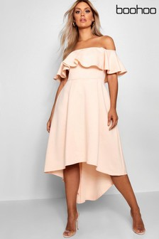 Boohoo Curve Off Shoulder Dropped Hem Maxi Dress