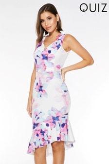 Quiz Florales Kleid mit asymmetrischem Spitzensaum