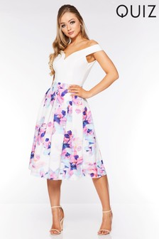 Quiz Floral Bardot Skater Midi Dress