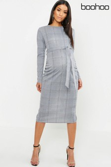 Boohoo Maternity Checked Belted Dress