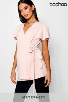 Boohoo Maternity Crepe Wrap Top