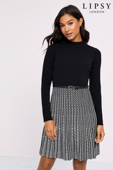 Lipsy Belted Fit And Flare Dress