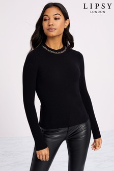 Lipsy Necklace Trim Ribbed Jumper