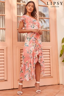 Lipsy Print One Shoulder Maxi Dress