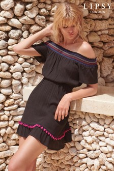 Lipsy Pom Pom Bardot Dress