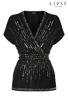 Lipsy Sequin Wrap Blouse