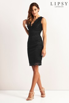 Lipsy V neck Lace Bodycon Dress