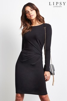 Lipsy Petite Long Sleeve Knot Dress