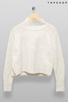 Topshop Ribbed High Neck Jumper
