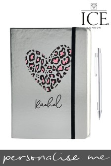 Personalised Metallic Heart Notebook by Ice London